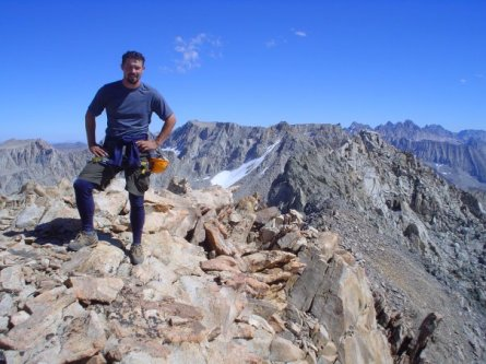 Me on top of Mount Huxley; almost done the Evolution Mountain Range Traverse; Sierras, CA